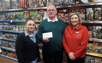 Fagan Toymaster presenting a cheque of €1,100 towards the MRI Scanner